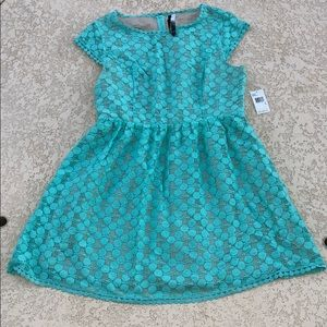 Kensie Girly Turquoise Lace Dress